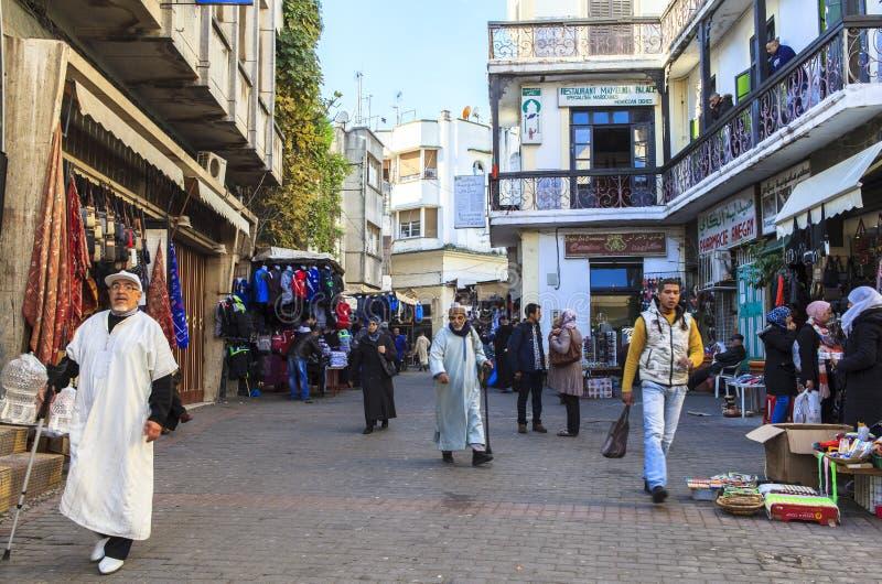 Herinneringswinkel van Medina in Tanger, Marokko stock fotografie