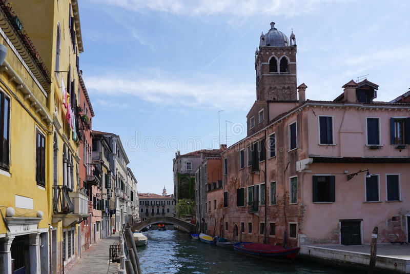 Heritage beautiful building with canal in Venice royalty free stock images