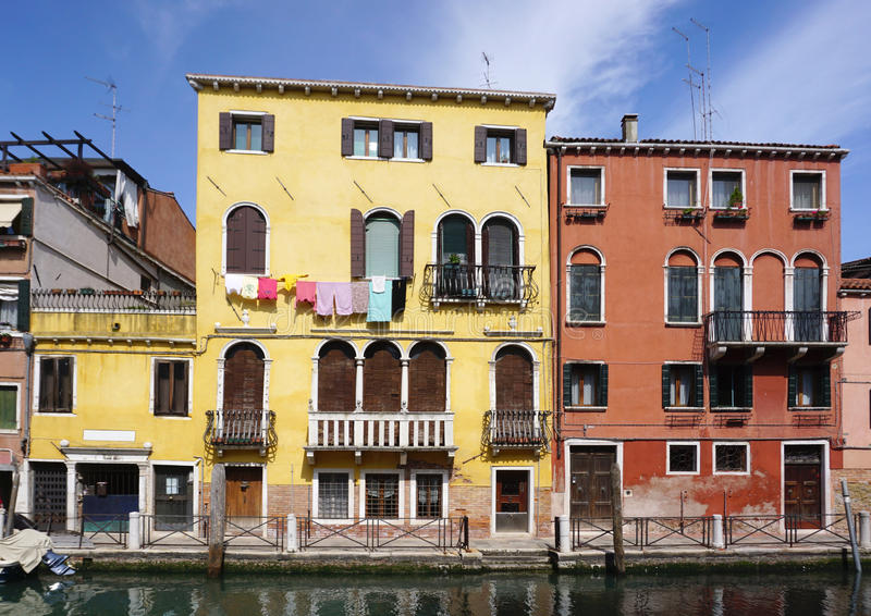 Heritage beautiful building with canal in Venice stock photo