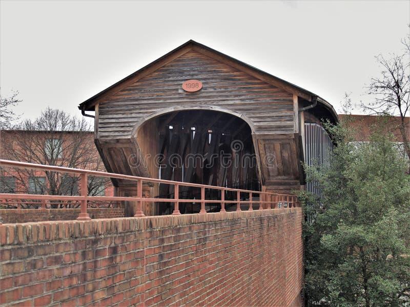 Heritage Bridge in Old Salem Museum & Gardens stock photography