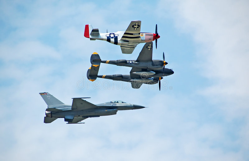 Heritage flight. Military fighters from three generations stock image