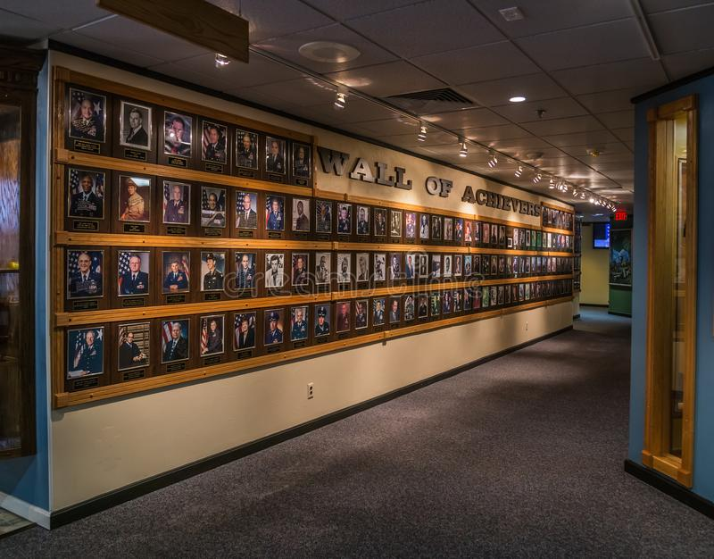 Heritage Hall Wall of Achievers. The coveted Wall of Achievers displayed in low accent lighting at Heritage Hall Located on Maxwell Air Force Base, Gunter Annex royalty free stock image