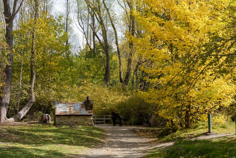 An Historic Chinese Worker`s Hut From The Gold Rush Days In Arrowtown New Zealand stock photos