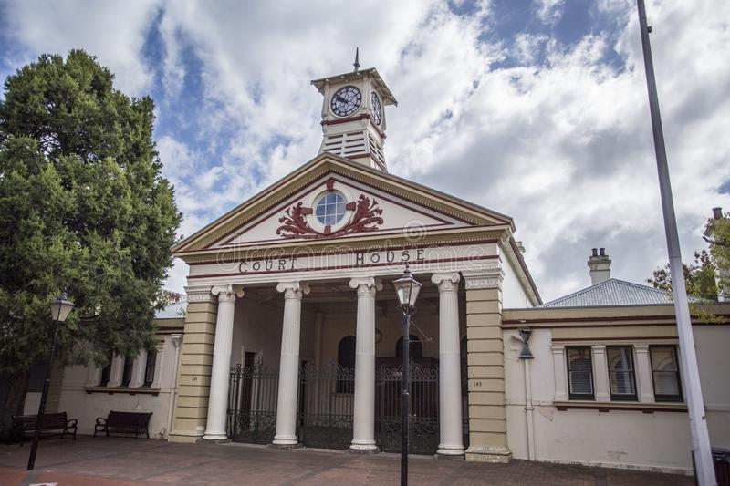 Heritage Listed Court House. Facade of the heritage listed Court House, built in 1859-1860 in Victorian Classical Revival architectural style in Armidale, NSW royalty free stock images