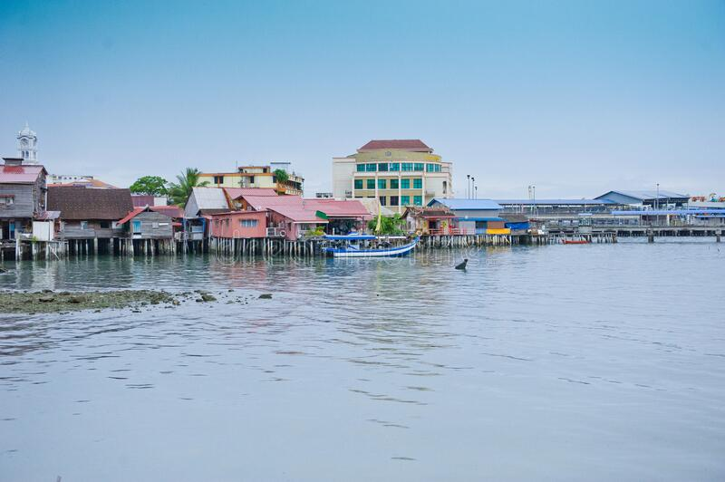 Heritage stilt houses of the Chew Clan Jetty, George Town, Penang, Malaysia royalty free stock photo
