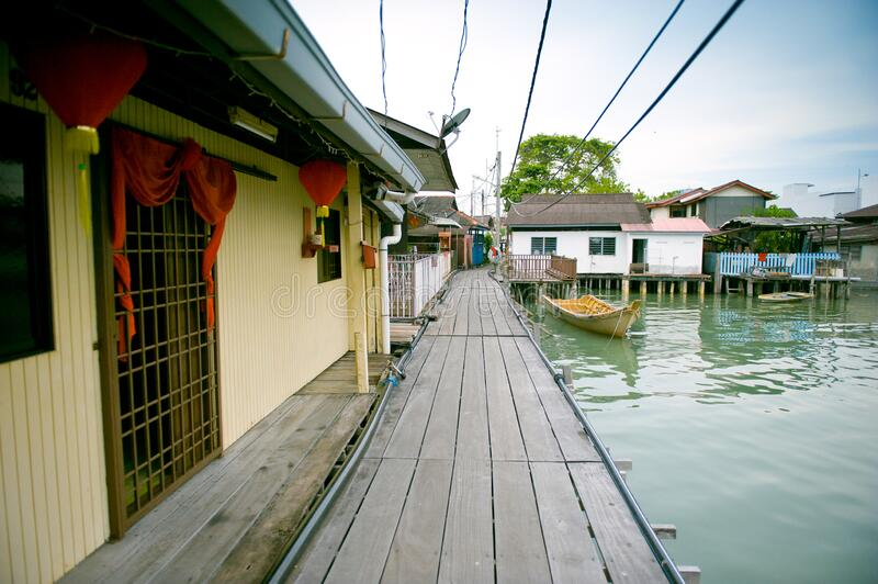 Heritage stilt houses of the Tan Clan Jetty, George Town, Penang, Malaysia royalty free stock photos