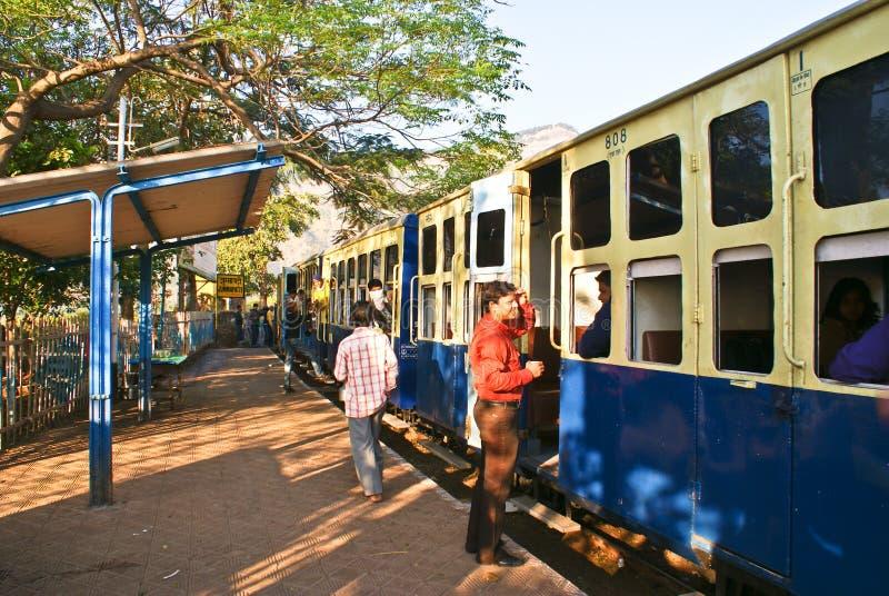 Heritage toy train at a railway platform stock photo