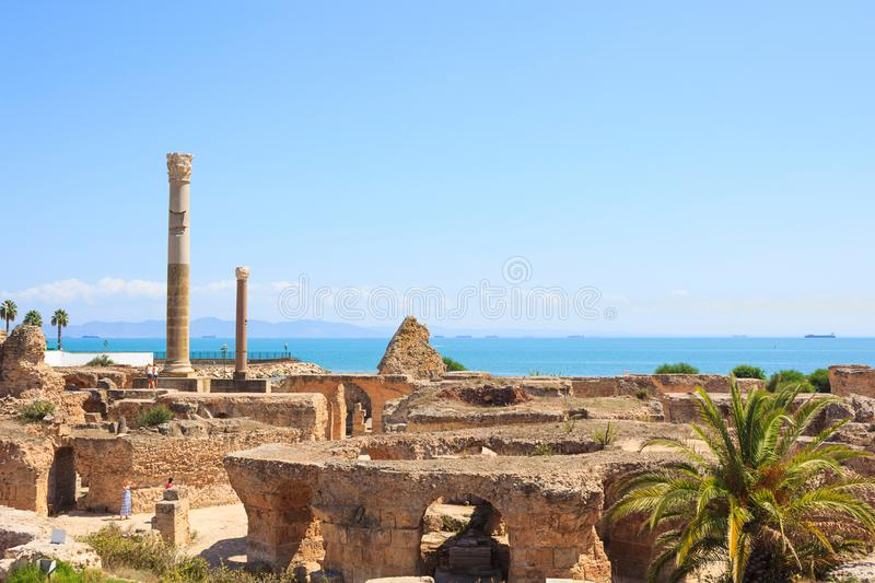 Ancient ruins of Carthage overlooking the Mediterranean Sea, Tunisia. The Heritage of UNESCO: ruins of Carthage, Tunisia stock photography