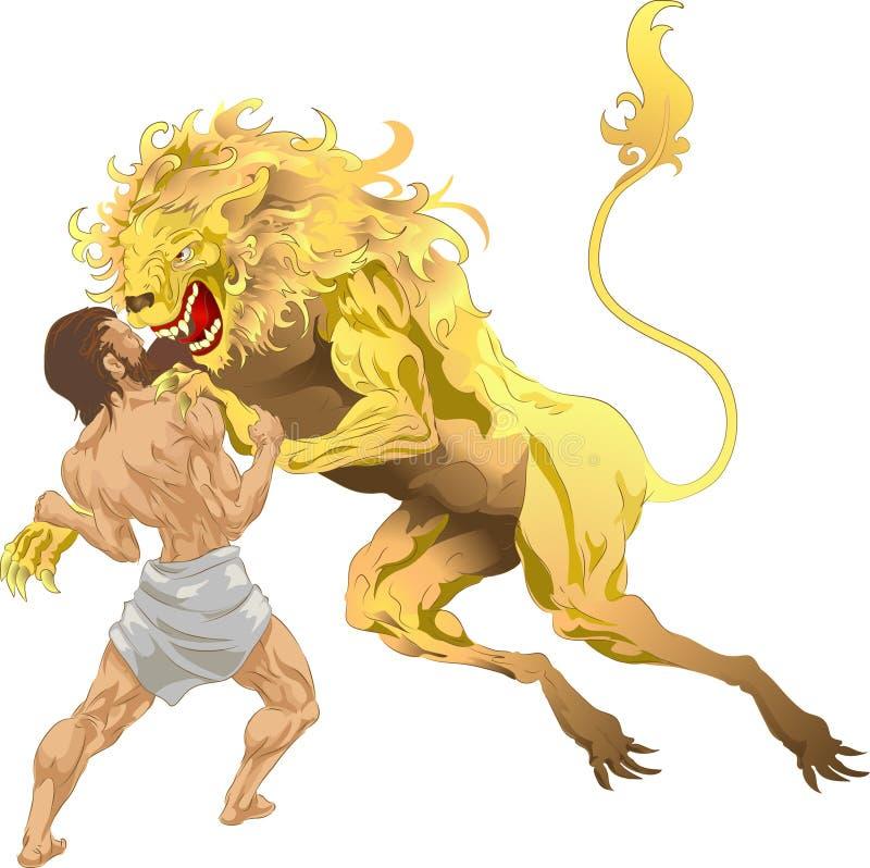Herkules und der Nemean Löwe stock abbildung