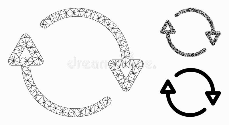 Herladen Vector het Mozaïekpictogram van Mesh Network Model en van de Driehoek royalty-vrije illustratie