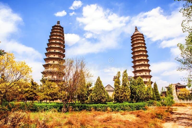 Hermana la señal vieja de las pagodas- de la ciudad de Tai-Yuan fotografía de archivo libre de regalías