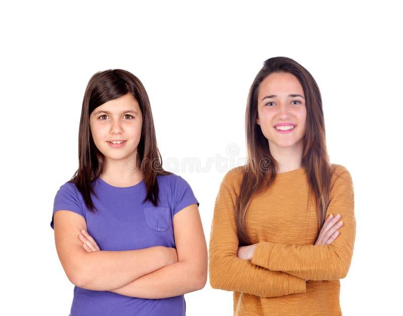 Hermana a muchachas del adolescente fotos de archivo