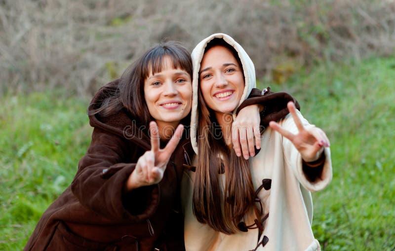 Hermanas agradables en un parque fotos de archivo