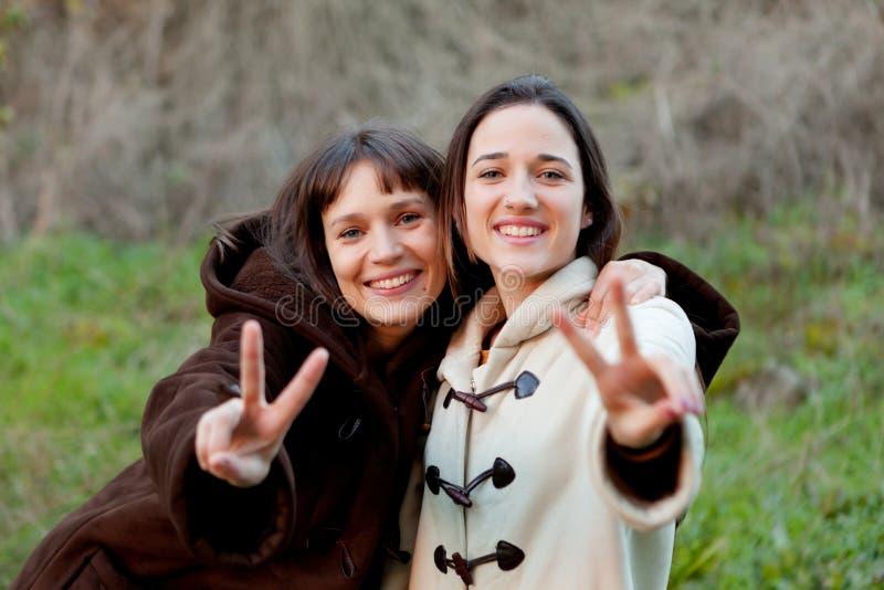 Hermanas agradables en un parque foto de archivo