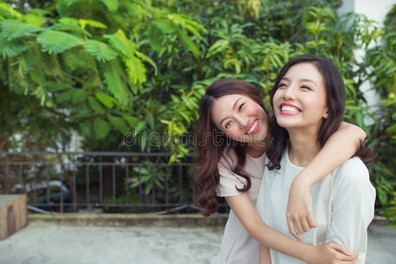 Hermanas asiáticas que abrazan y que sonríen en el parque foto de archivo libre de regalías