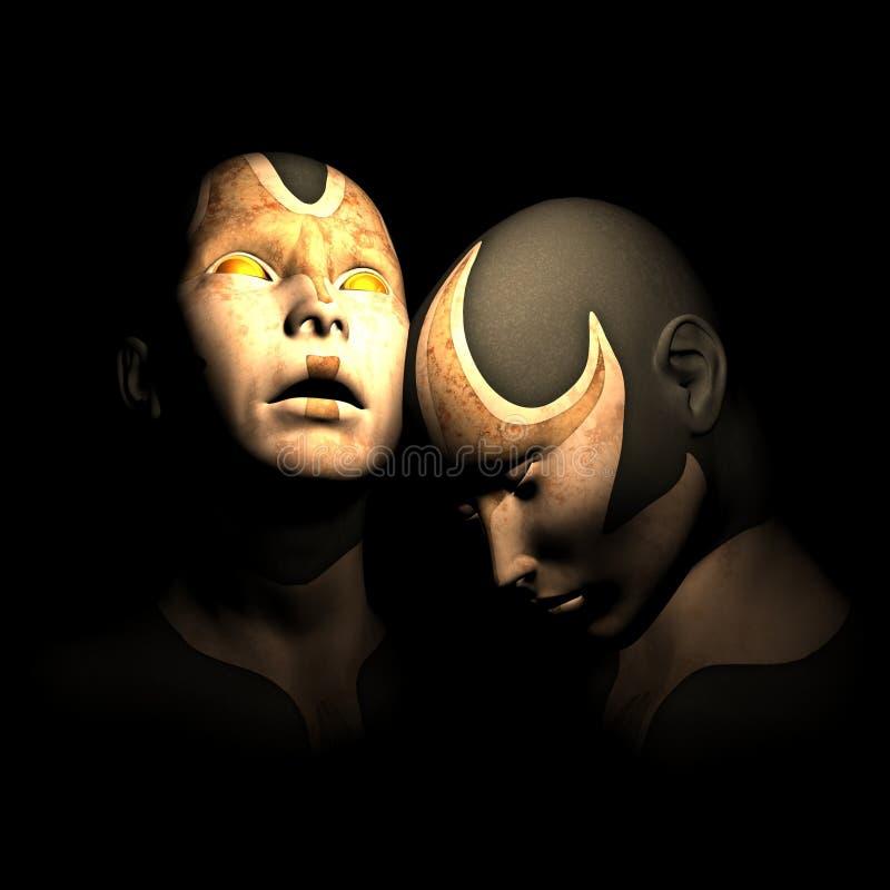 Hermanas del Cyborg preocupantes stock de ilustración