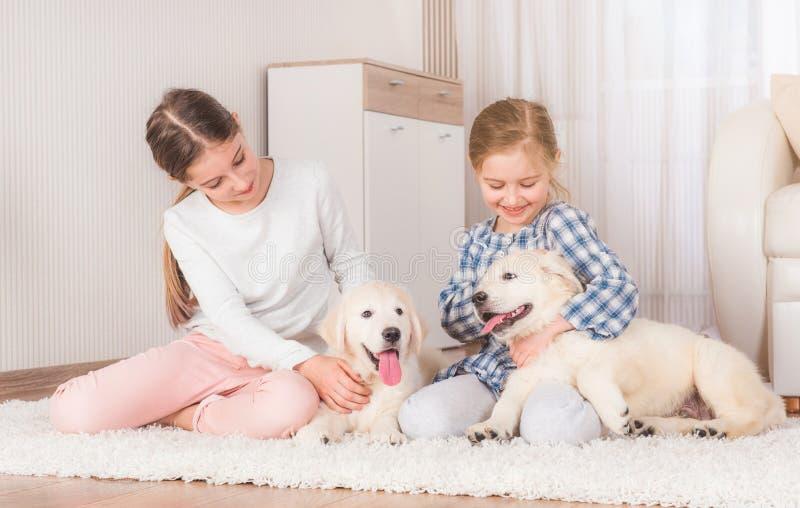 Hermanas sonrientes que se sientan con los perritos del perro perdiguero fotos de archivo