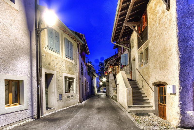 Hermance village street, Geneva, Switzerland stock images