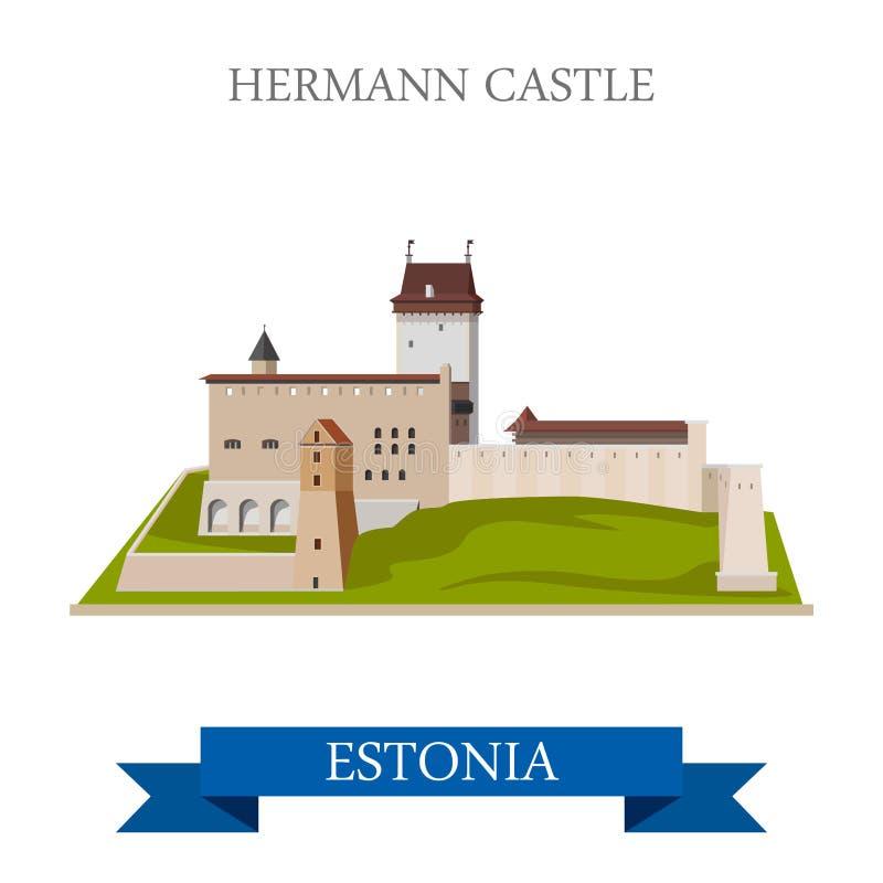 Hermann Castle en señal plana de la vista de la atracción del vector de Estonia ilustración del vector