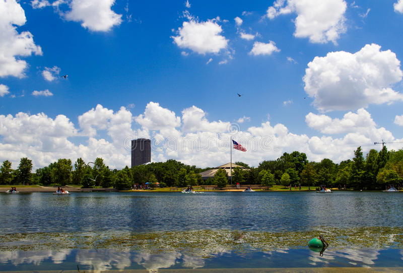 Hermann parquea el lago, Houston, Tejas, los E.E.U.U. fotos de archivo
