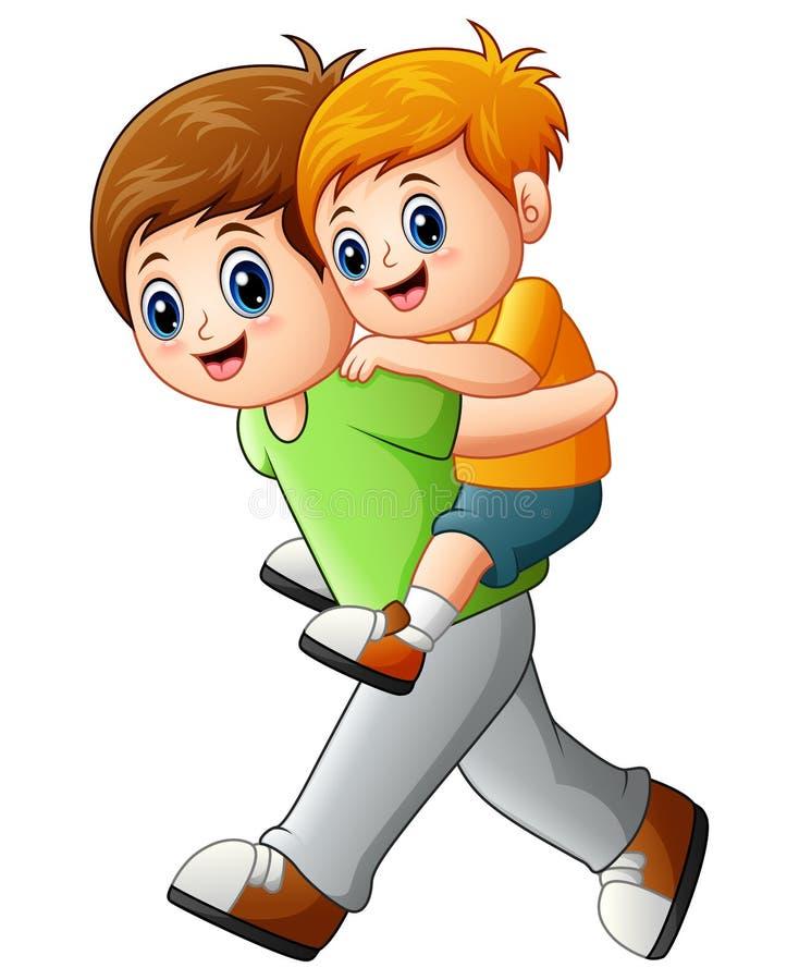 Hermano mayor que hace a cuestas al hermano menor del paseo stock de ilustración