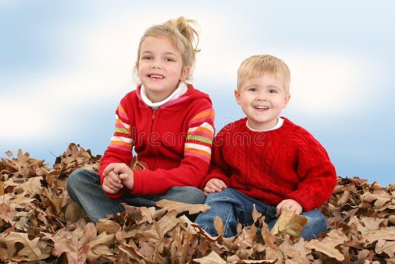 Hermano y hermana que se sientan en la pila de hojas imagen de archivo