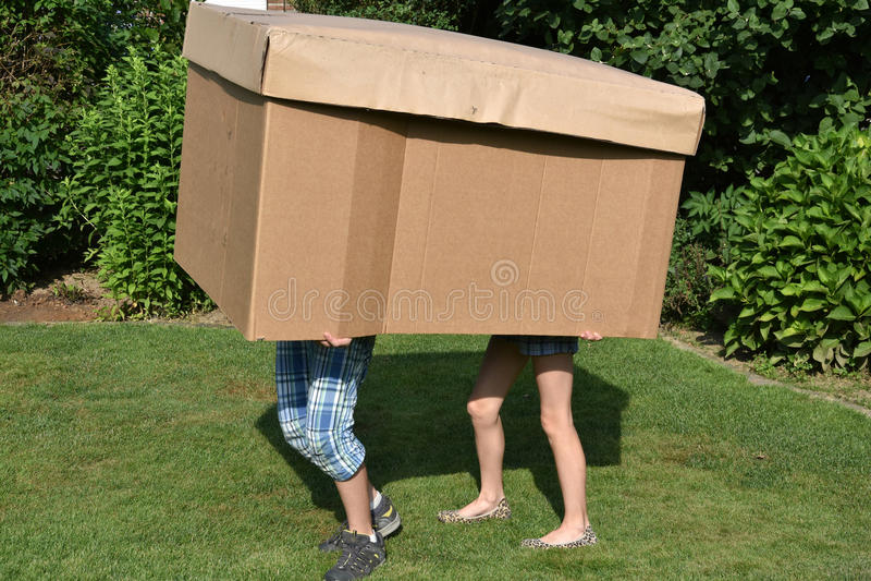 Hermanos con la caja de cartón fotografía de archivo