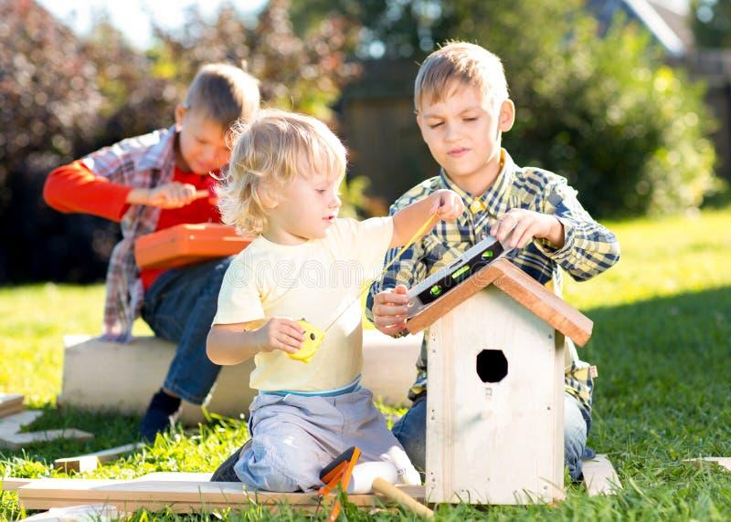 Hermanos de los niños pequeños que construyen la pajarera al aire libre fotografía de archivo
