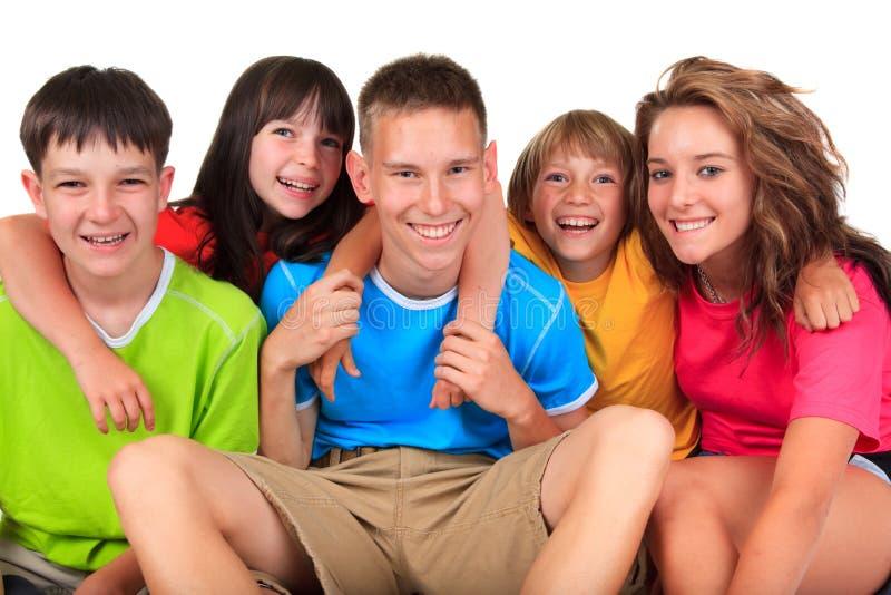 Hermanos y hermanas felices foto de archivo libre de regalías