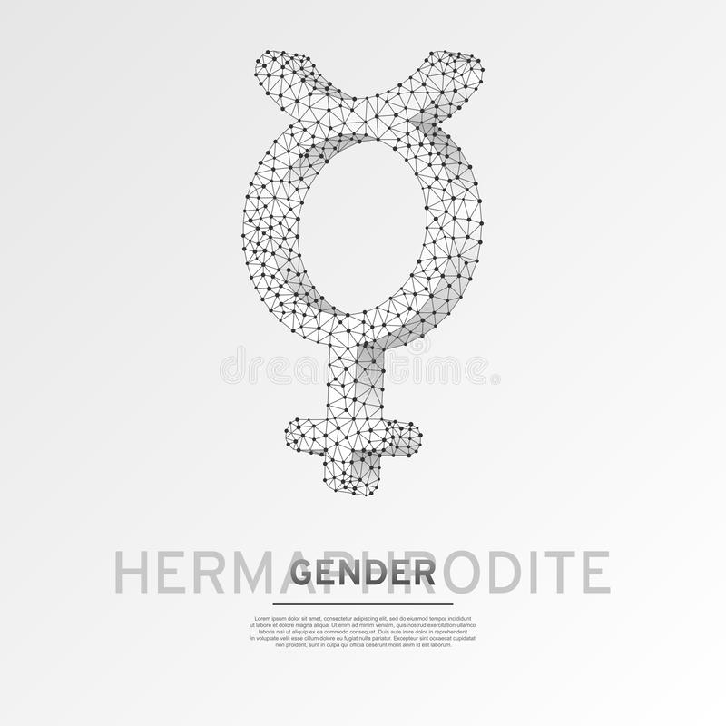 Hermaphrodite, mercury gender symbol. Wireframe digital 3d illustration. Low poly Abstract Vector polygonal origami LGBT royalty free illustration