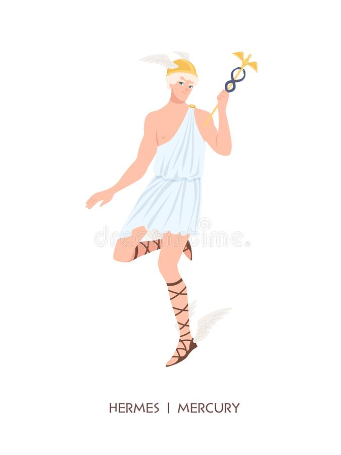 Hermes ή υδράργυρος - θεότητα του εμπορίου, του εμπορίου και των εμπόρων των ελληνικών και Ρωμαίου pantheon, αγγελιοφόρος των Oly διανυσματική απεικόνιση