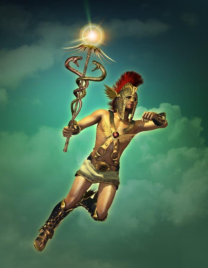 Hermes ο αγγελιοφόρος των Θεών μέχρι την ημέρα, τρισδιάστατο CG ελεύθερη απεικόνιση δικαιώματος