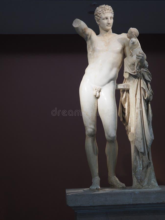 Hermes с младенцем Dionysus - старой Олимпией стоковое изображение rf