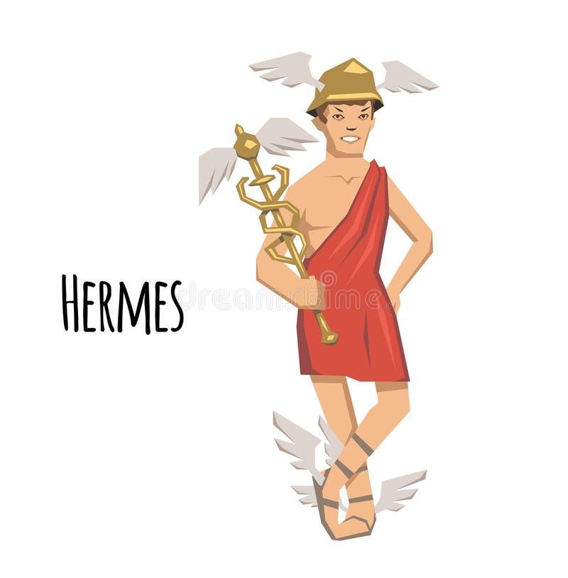 Hermes, ancient Greek god of Roadways, Travelers, Merchants and Thieves, messenger of the gods. Mythology. Flat vector royalty free illustration