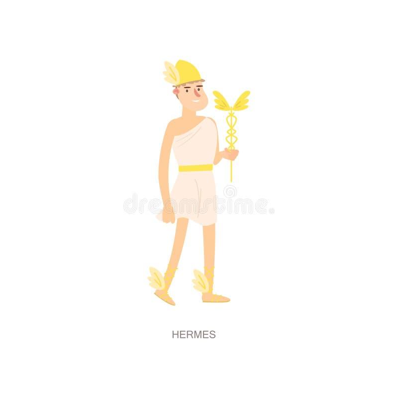 Hermes antiguos griegos de dios del hombre de la mitología con el casco del oro stock de ilustración