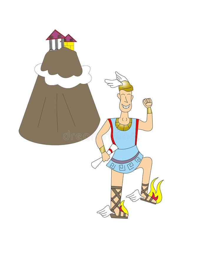 Hermes en zet Olympus op vector illustratie