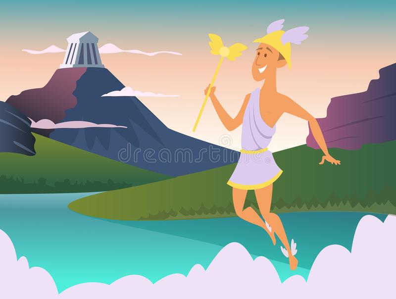 Hermes. Greek god of trade. Vector mythology man with wing on foots, roman winged male illustration stock illustration