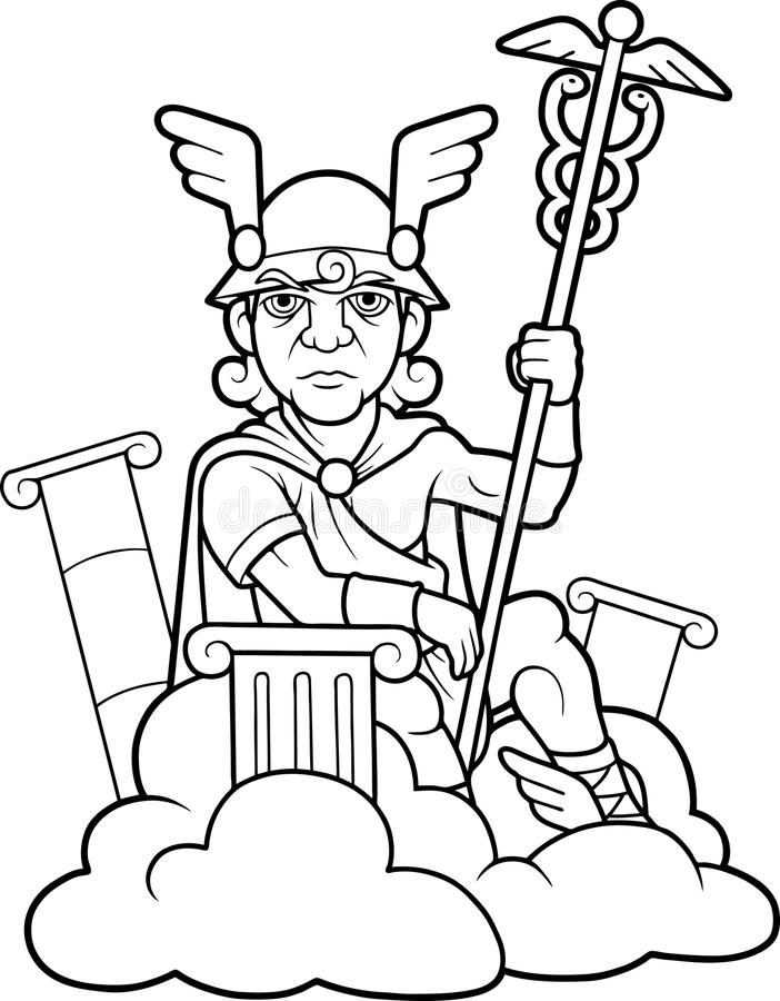 Hermes holds a scepter i vector illustration
