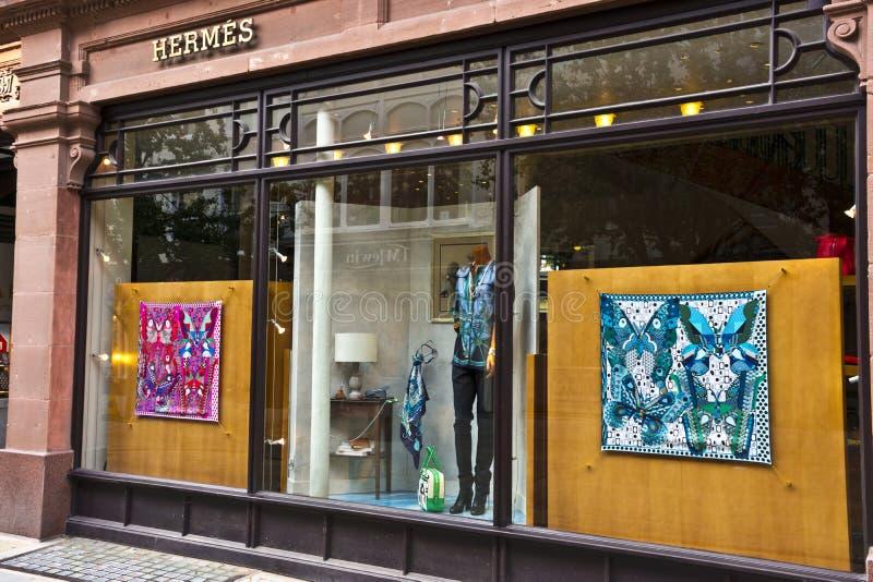 Hermes lyxig shopping i Manchester, England arkivfoton