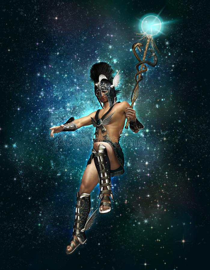 Hermes the messenger of the Gods at night, 3d CG royalty free illustration