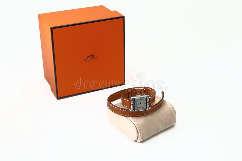 Hermes women luxury watch and this house present box stock images