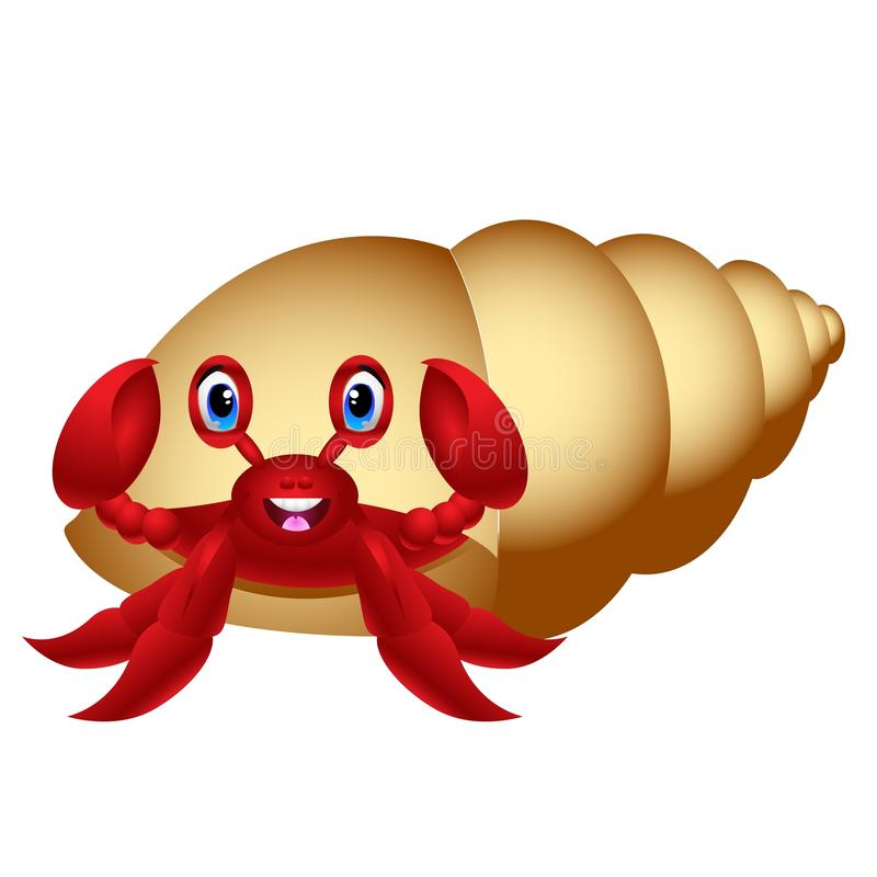Hermit Crab Cartoon Red And Light Brown Stock Vector Image 58953461