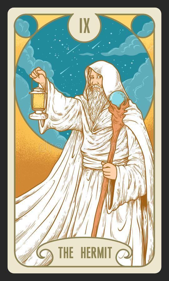 The Hermit Tarot Design. Tarot card illustration, additional format and no colors version are available vector illustration