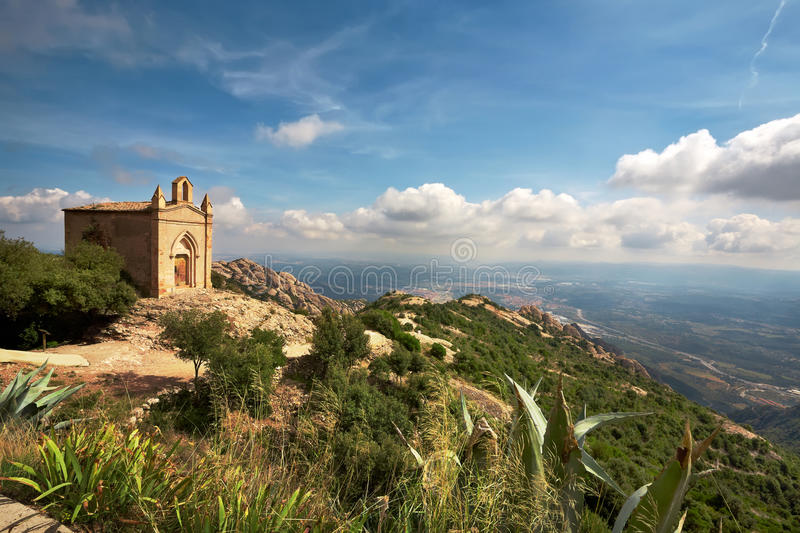 Hermitage. View of lonely hermitage in the mountains of Montserrat stock images