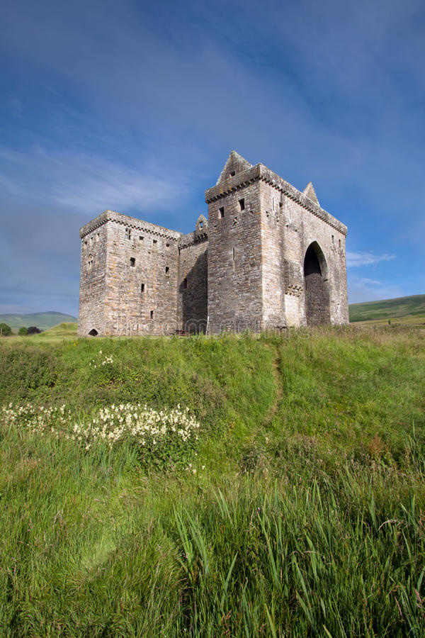 Hermitage Castle, Scottish Borders. Hermitage Castle, Liddesdale Valley, County Roxburghshire, in the Scottish Borders is a ruined stronghold built by the royalty free stock photos