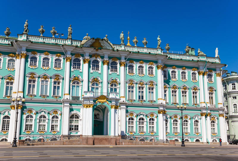 Hermitage Museum. Fragment of Winter Palace (Hermitage Museum) view in Palace Square in Saint Petersburg stock images