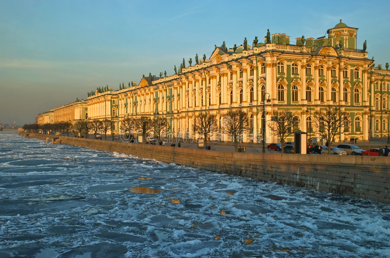 Hermitage museum in Petersburg stock photo