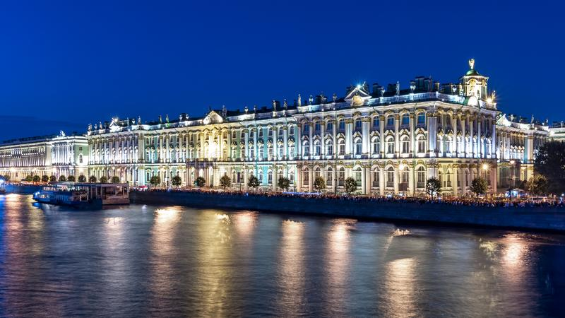 Hermitage museum Winter Palace and Neva river at night, Saint Petersburg, Russia stock photo