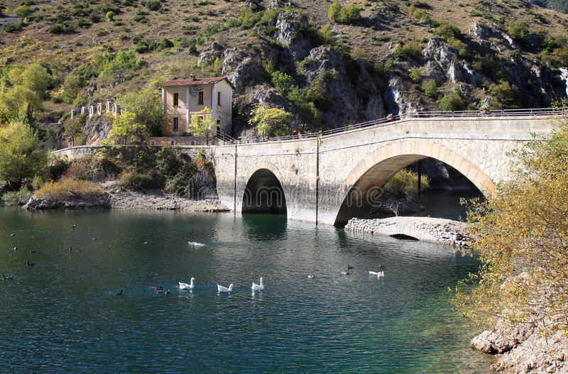 The Hermitage of San Domenico, Italy. A small artificial lake near the Italian town of Scanno named after San Domenico, a saint patron of a piccolo borough di royalty free stock photo