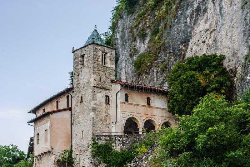 The hermitage of Santa Caterina del Sasso on the shores of Lago Maggiore stock image